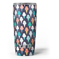 The All Over Teal and Green Ice Cream Cones - Skin Decal Vinyl Wrap Kit compatible with the Yeti Rambler Cooler Tumbler Cups
