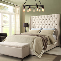 Park Ave California King Tufted Wing Bed by Diamond Sofa - Grey