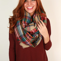 Plaid Perfection Infinity Scarf in Oatmeal