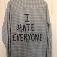 "Plaid flannel ""I Hate Everyone"" hand painted shirt with heart // soft grunge"