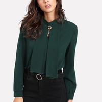 Green Blouse with Stand Collar Pearl Detail