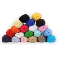 12Color Fingering Durable Natural Smooth Woolen Cotton Bamboo Knitting Yarn Lot = 1930354052
