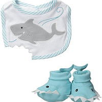 Baby Aspen Bib and Booties Gift Set , Chomp and Stomp Shark