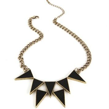 Burn Gold/Black Leather Triangle Necklace