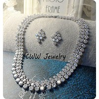 CWWZircons Luxury 2017 Nigerian Wedding Accessories African CZ Beads Jewelry Sets Crystal Bridal Necklace For Brides T111