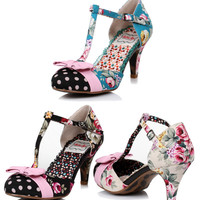 Bettie Page Bloom Floral Dot Heel