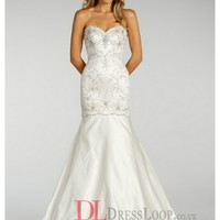 Beaded Elongated Bodice And Satin Skirt Modified A-Line Bridal Gown LL4409