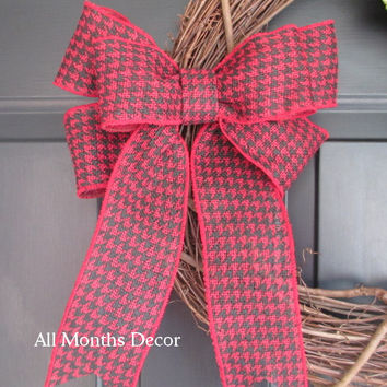 Red Black Houndstooth Bow