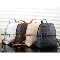 MK Women Casual Shoulder School Bag Cowhide Leather Backpack mieniwe?