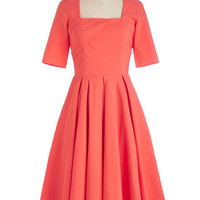 ModCloth Vintage Inspired Long Short Sleeves A-line Good as Bold Dress