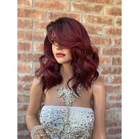 """Red Ombré Lace Front Wig 10""""  819"""