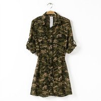 Camouflage Cuffed Sleeve Button Collared Dress