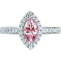 2 carats Halo marquise pink diamond wedding anniversary ring gold 14K