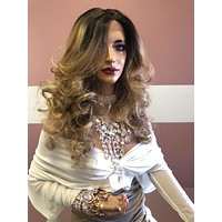 """Blond Balayage curls lace front Wig 14"""" 0319"""