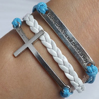 Antique silver will &cross bracelet,green wax rope and white leather bracelet,best gift to friends J-79