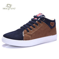 2015 New Arrival Winter Men's High Top Solid Lace-up Fleece Warm Shoes Male Casual Breathable Masculina Sapatos Sneakers XMM073
