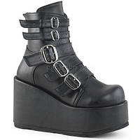 """Concord 57 Black Matte Multiple Strap Ankle Boot 4.5"""" Wedge Heel 6-12"""