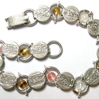 """Upcycled With Watermelon Tourmaline Vintage Sarah Coventry Bracelet Silver Tone 7.25"""" OOAK"""