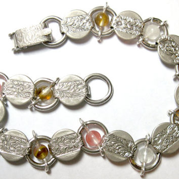 "Upcycled With Watermelon Tourmaline Vintage Sarah Coventry Bracelet Silver Tone 7.25"" OOAK"