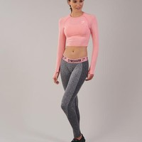 Gymshark Vital Seamless Long Sleeve Crop Top - Peach Pink Marl