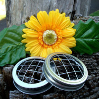 Set of 2 Mason Jar Flower Frog LIDS  by CreativeCorksNMore on Etsy