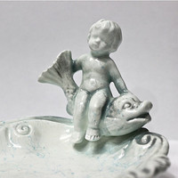 Antique Vanity Porcelain Cherub and Fish Figurine E-40066-SD Soap Dish Collectible