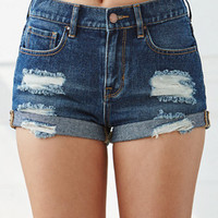 Bullhead Denim Co. Stormy Night Ripped High Rise Cuffed Denim Shorts at PacSun.com