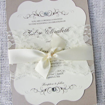 Lace Wedding Invitation, Die-Cut Invitations, Ornate Wedding Invitation, Vintage Wedding Invitation Suite of 50