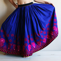 """Tribal Skirt - Kuchi Skirt - Gypsy Skirt with amazing wide hand-embroidered bottom span - AUTHENTIC VINTAGE  """"req45083"""
