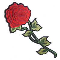 Red Rose Flower Embroidered Patch Applique, Iron On Red Flower Image Transfer