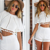 Cut Out Back Half Sleeve Fringe Shirt and Short Two Pieces
