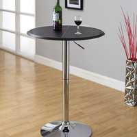 A.M.B. Furniture & Design :: Bar stools and bars :: Bar tables :: Passore modern style black leather like vinyl top round adjustable height bar table with chrome base