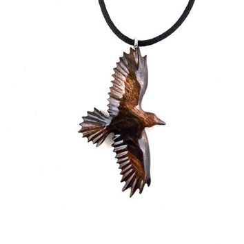 Raven Pendant, Raven Necklace, Wooden Raven Pendant, Crow Pendant, Crow Necklace, Native American Inspired, Tribal Jewelry, Raven Jewelry