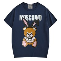 Moschino street fashion men and women print round neck loose half-sleeved T-shirt navy blue