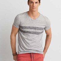 AEO Seriously Soft Stripe Pocket T-Shirt, Scrimmage Heather