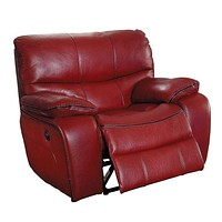 Leather Upholstered Power Reclining Chair, Red