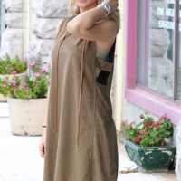 Side Cut Out Suede Dress {Olive}