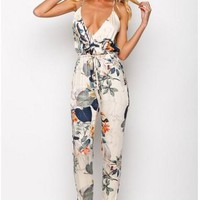 Womens Sexy Deep V Floral Jumpsuit