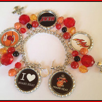San Antonio Spurs NBA Custom Charm Bottle Cap Bracelet  and Earring Set nfl,ncaa,nba,mlb,nhl,nsl,nascar,women's sports charm bracelets