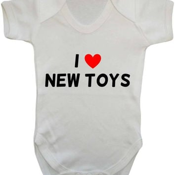 I Love (Heart) New Toys Cheeky Cute Statement Baby Onesuit Vest