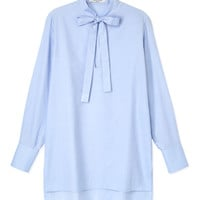 Valentino Front Tie Cotton Blouse - Blue Blouse - ShopBAZAAR