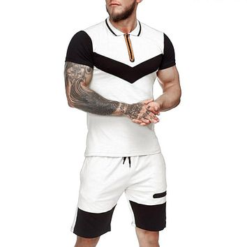 Mens Short Sets Summer Casual Summer Clothing 2 Piece Set Colorblock Track Suits  Male T Shirt