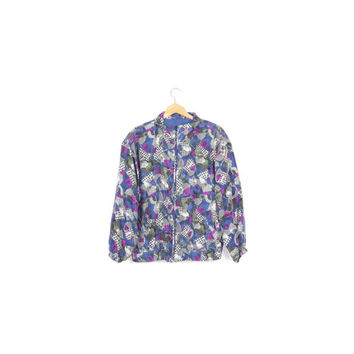 80s abstract silk bomber jacket / vintage 1980s / colorful / wild pattern / allover print / large