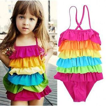 Adorable Baby Girls Rainbow Swimwear Colorful Swimsuit One Piece Monokini Summer Cute Toddler Kids Beachwear Bathing Suits 3-9 Y