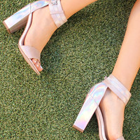 Textured Two Strap Block Heels in Nude & Holographic
