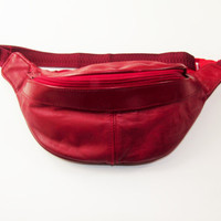 Vintage Faux Red Leather Fanny Pack