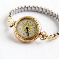 Antique Art Deco Ladies Working Watch- 1920s 1930s Yellow Gold Filled Floral Filigree Hallmarked S.W.C. Co. Bracelet Jewelry