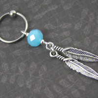 Silver Feathers & Blue Glass CBR Captive Bead Ring Cartilage Hoop ~ 14G 16G Conch Helix Tragus Navel Ear Piercing Earring Belly Ring