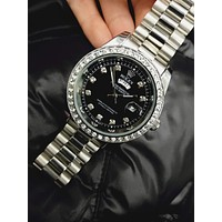 Rolex trend diamond men and women calendar quartz watch silver