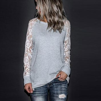 Long Sleeve Lace Arms Pullover